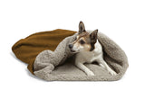 Dog Snuggling in Big Shrimpy Den Dog & Cat Bed - Saddle