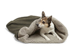Dog inside of Big Shrimpy Den Dog & Cat Bed - Stone