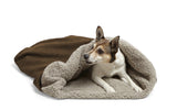 Small Dog Snuggling in Big Shrimpy Den Dog & Cat Bed - Walnut