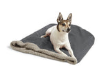 Dog on top of Big Shrimpy Den Dog & Cat Bed - Clay