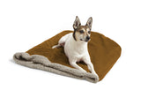 Dog on top of big shrimpy den bed - saddle