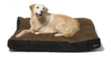 Walnut brown dog bed with big dog