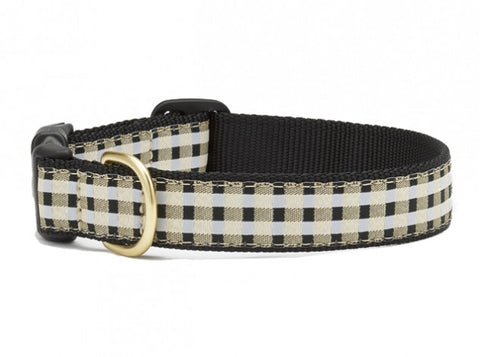 Up Country Black Gilt Check Dog Collar
