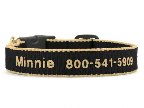Personalized Bamboo Dog Collar - Black/Tan
