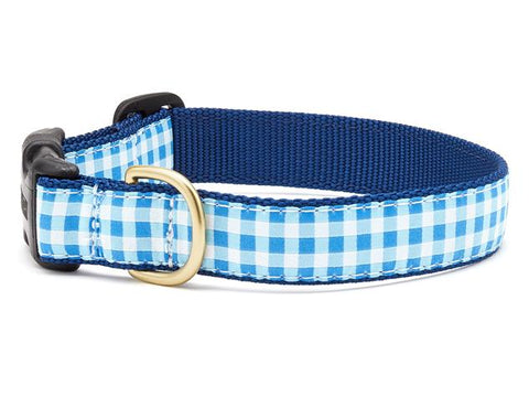Up Country Blue Gingham Dog Collar