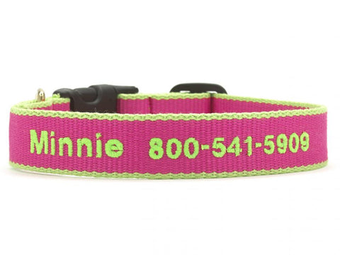 Personalized Bamboo Dog Collar - Pink/Lime