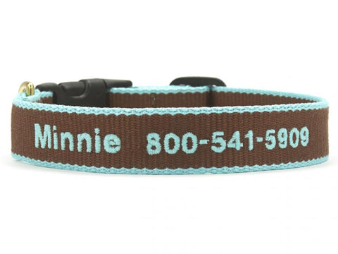 Personalized Bamboo Dog Collar - Chocolate/Aqua