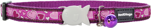 Red Dingo Designer Cat Safety Collar - Breezy Love (Purple)