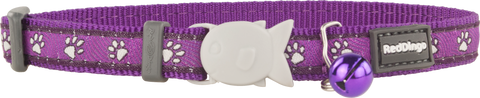 Red Dingo Designer Cat Safety Collar - Desert Paws (Purple)