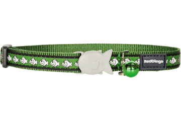 Red Dingo Reflective Cat Safety Collar - Green Fish