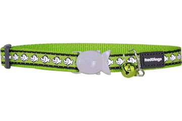 Red Dingo Reflective Cat Safety Collar - Lime Green Fish