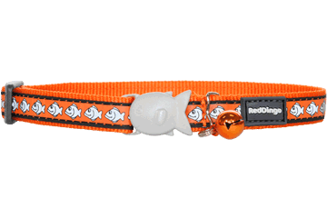 Red Dingo Reflective Cat Safety Collar - Orange Fish