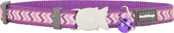Red Dingo Reflective Cat Safety Collar - Purple Ziggy