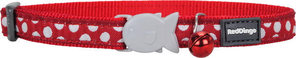 Red Dingo Designer Cat Safety Collar - Polka Dot (White on Red)