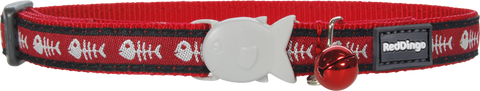 Red Dingo Designer Cat Safety Collar - Fish Bones (Red)
