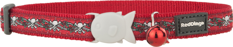 Red Dingo Designer Cat Safety Collar - Skulls & Roses (Red)