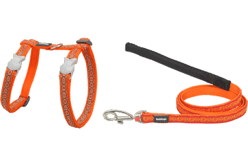 Red Dingo Designer Cat Harness and Lead Combo - Snake Eyes Orange