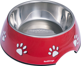 Red Dingo Premium 2-in-1 Dog Bowl - Pawprint Red