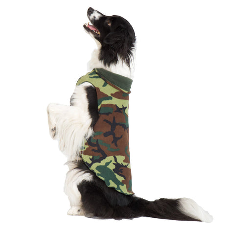 Duluth Double Fleece Pullover Dog Sweater - Camo/Hunter Green