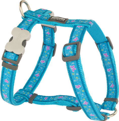 Red Dingo Designer Dog Harness - Butterfly (Turquoise)
