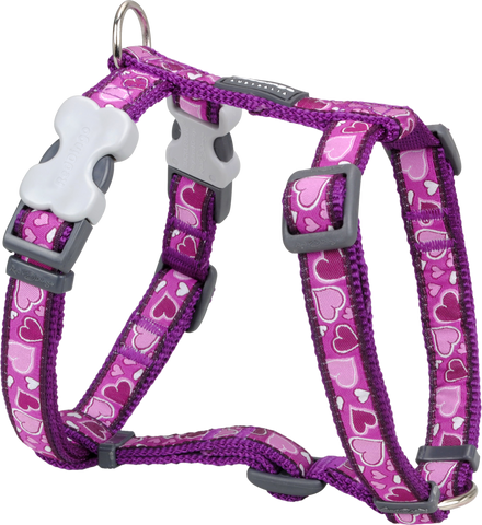 Red Dingo Designer Dog Harness - Breezy Love (Purple)
