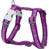 Red Dingo Designer Dog Harness - Purple Pawprints