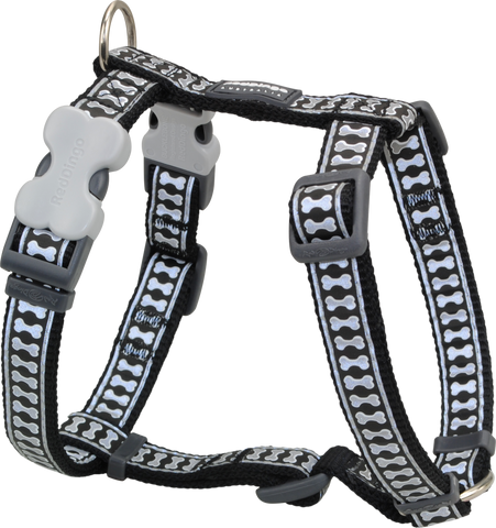 Red Dingo Designer Dog Harness - Reflective Bones (Black)
