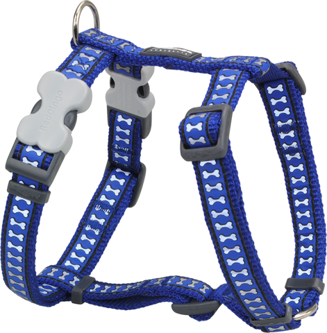 Red Dingo Designer Dog Harness - Reflective Bones (Dark Blue)
