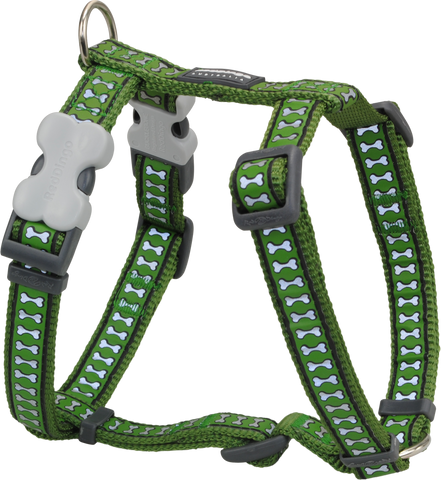 Red Dingo Designer Dog Harness - Reflective Bones (Green)