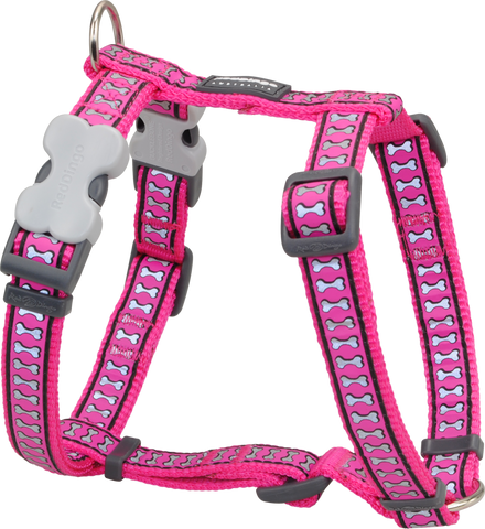 Red Dingo Designer Dog Harness - Reflective Bones (Hot Pink)