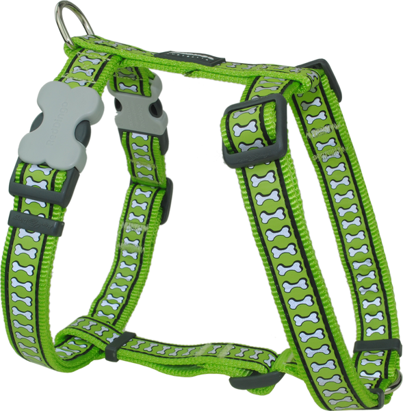 Red Dingo Designer Dog Harness - Reflective Bones (Lime Green)