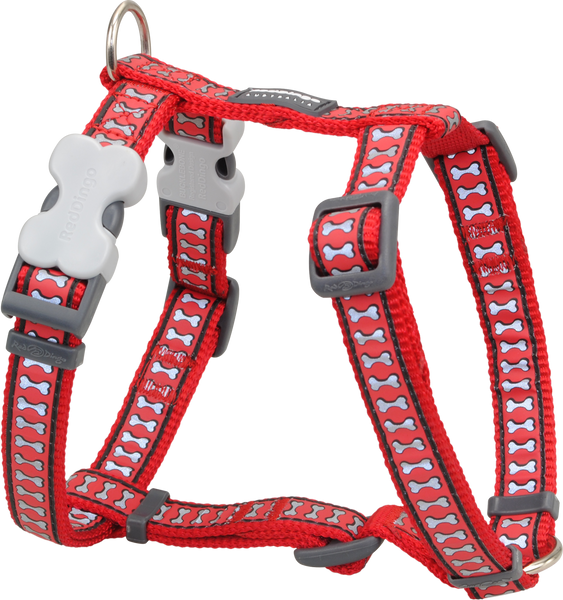 Red Dingo Designer Dog Harness - Reflective Bones (Red)