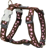 Red Dingo Designer Dog Harness - Polka Dot (Pink on Brown)