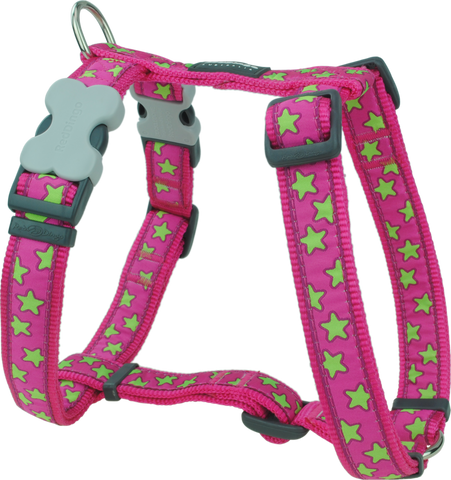 Red Dingo Designer Dog Harness - Stars (Lime Green on Hot Pink)