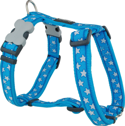 Red Dingo Designer Dog Harness - Stars (White on Turquoise)