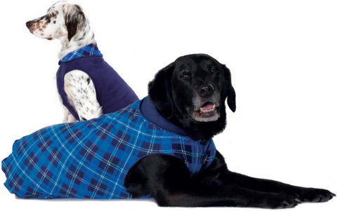 Duluth Double Fleece Pullover Dog Sweater - Blue Plaid/Navy