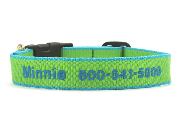 Personalized Bamboo Dog Collar - Lime/Aqua