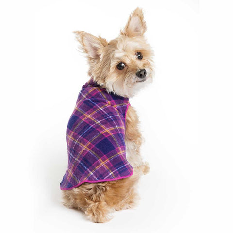 Gold Paw Stretch Fleece Dog Coat - Mulberry Plaid