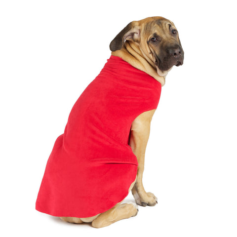 Gold Paw Stretch Fleece Dog Coat - Red