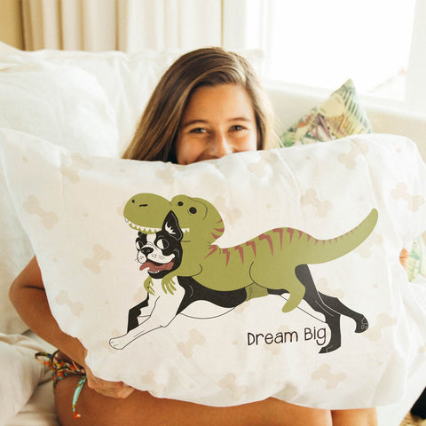 Dream Big (Dogo-saurus Rex) Wonderfully Soft Microfiber Pillowcase