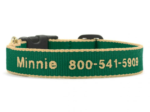 Personalized Bamboo Dog Collar - Forest/Tan