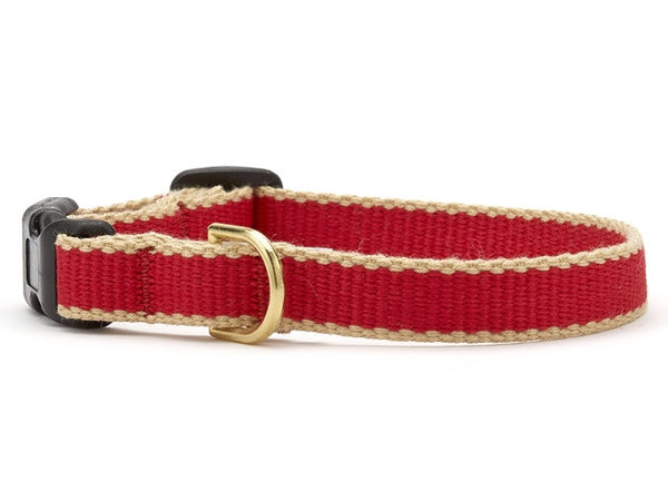 Up Country Green Market Bamboo Cat Collar - Red & Tan