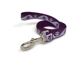 Rita Bean Engraved Buckle Personalized Dog Collar - Wavy Paws (Purple)