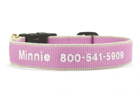 Personalized Bamboo Dog Collar - Lilac/Gray