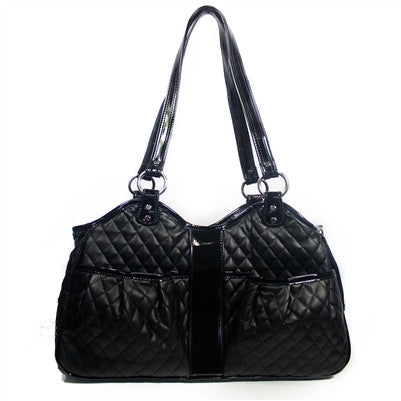 Petote Quilted Luxe Metro Dog Carrier - Black