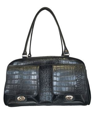 Petote Marlee Bag Dog Carrier - Black Croco