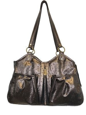 Petote Metro Couture Dog Carrier - Bronze Ostrich With Tassel
