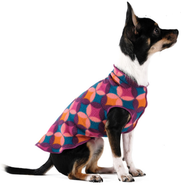 Gold Paw Stretch Fleece Dog Coat - Mod Purple