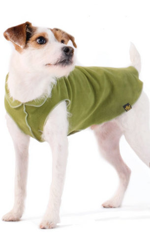 Gold Paw Stretch Fleece Dog Coat - Moss Green