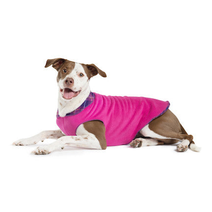 Duluth Double Fleece Pullover Dog Sweater - Mulberry Plaid/Fuchsia